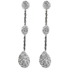 Alex Soldier Sterling Silver Platinum Textured Drop Dangle Earrings