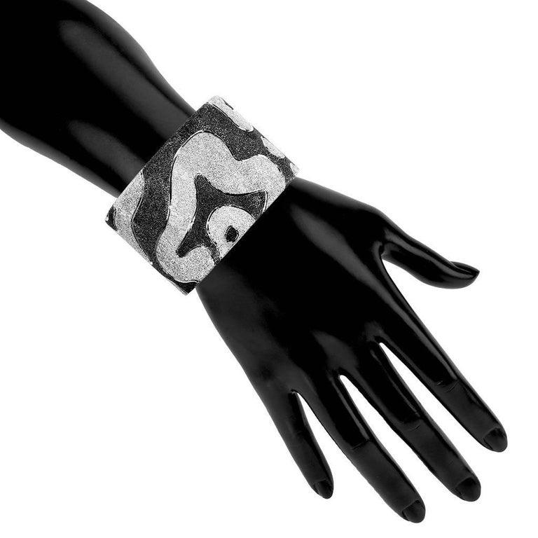 Women's or Men's Alex Soldier Sterling Silver Platinum Textured Hinged Cora Cuff Bracelet