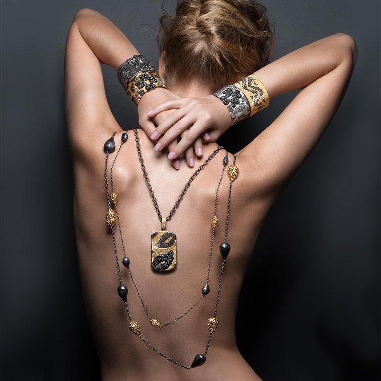 Alex Soldier Sterling Silver Platinum Textured Hinged Cora Cuff Bracelet 3