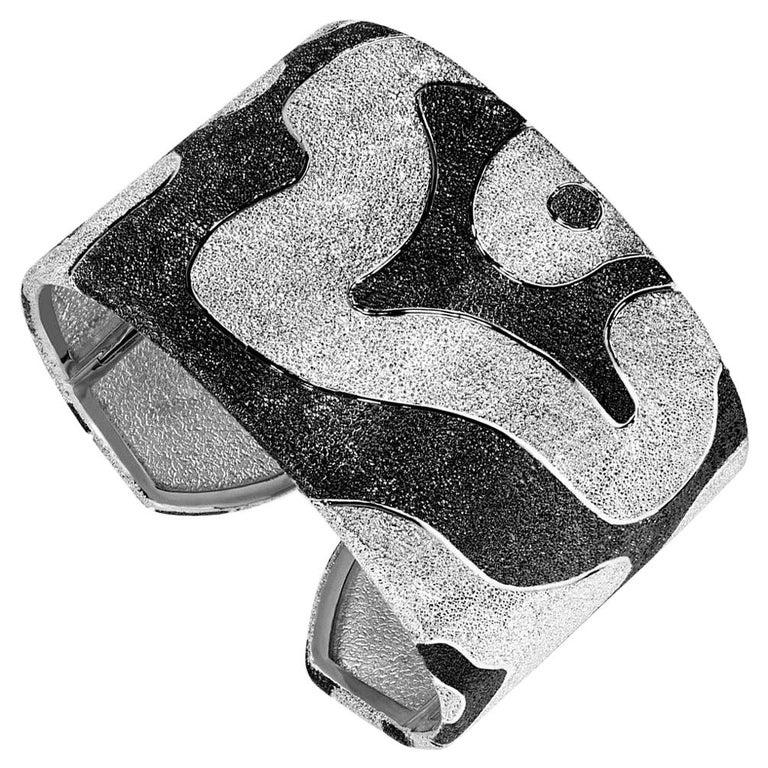 Alex Soldier Sterling Silver Platinum Textured Hinged Cora Cuff Bracelet