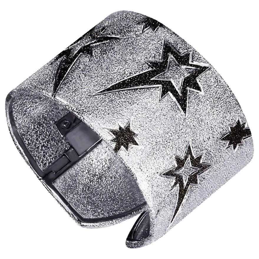 Alex Soldier Sterling Silver Platinum Textured Hinged Star Cuff Bracelet