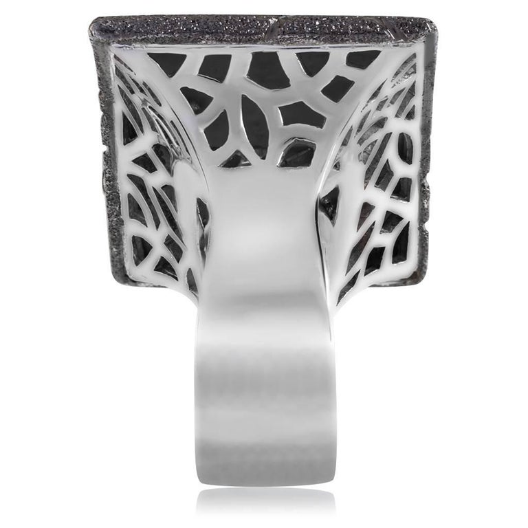 Alex Soldier Sterling Silver Platinum Textured Sun Pattern Ring One of a kind For Sale 1