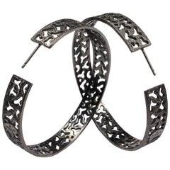 Alex Soldier Sterling Silver Rhodium Textured Hoop Earrings