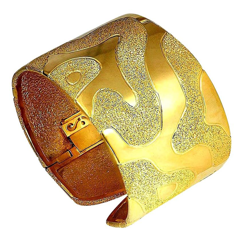 Alex Soldier Sterling Silver Yellow Gold Hinged Textured Cuff Bracelet