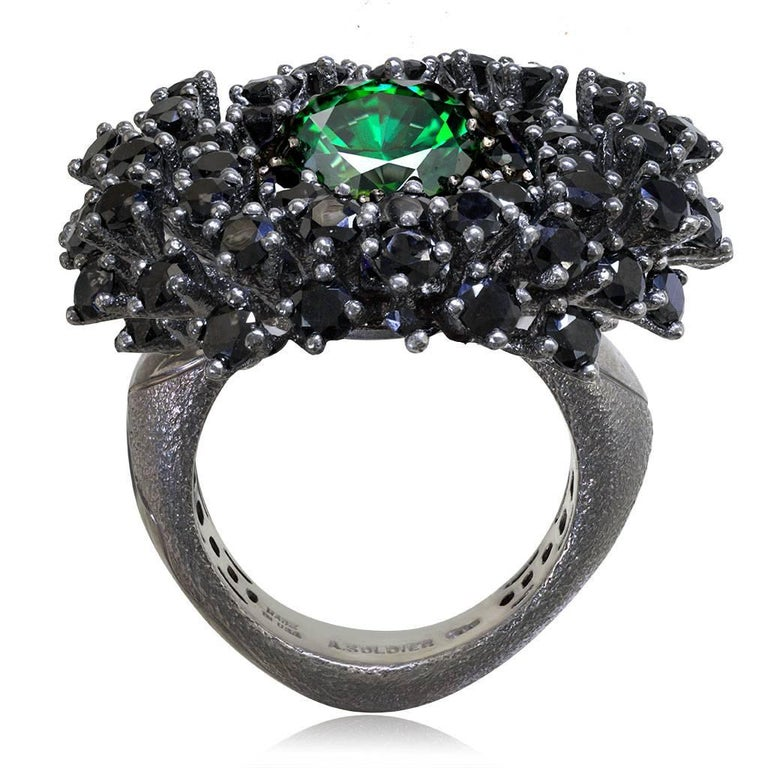 Round Cut Alex Soldier Swarovski Crystal Spinel Blackened Sterling Silver Cocktail Ring For Sale