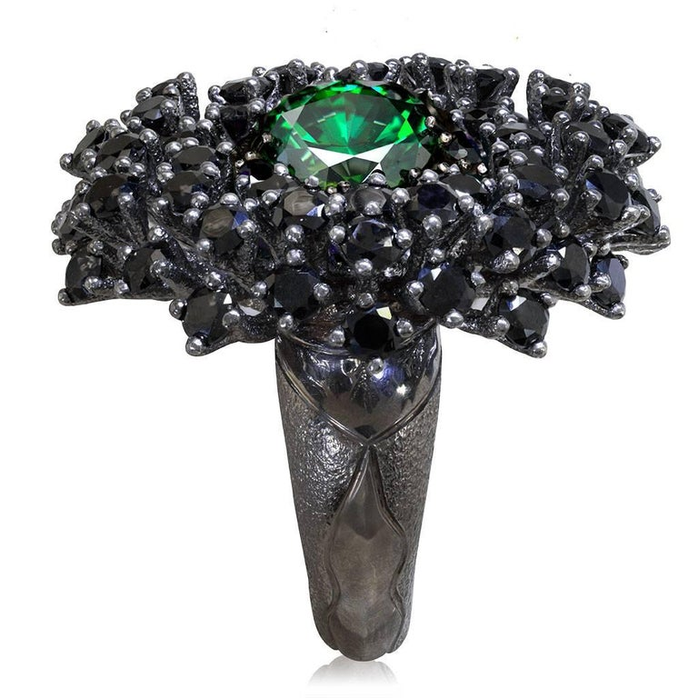 Swarovski Crystal Spinel Blackened Sterling Silver Cocktail Ring In New Condition For Sale In New York, NY