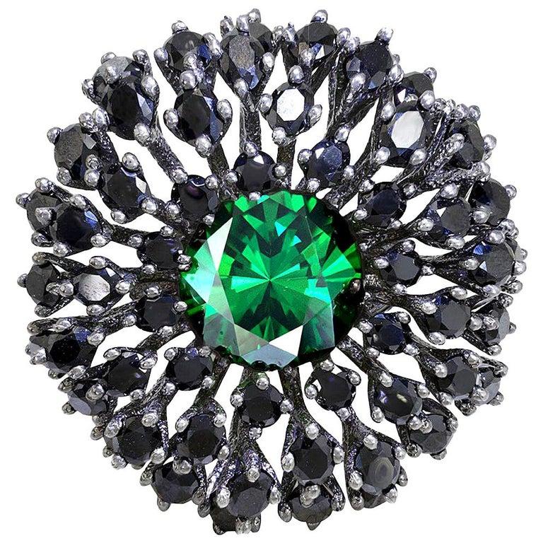 Alex Soldier Swarovski Crystal Spinel Blackened Sterling Silver Cocktail Ring For Sale