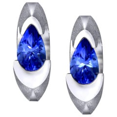 Alex Soldier Tanzanite White Gold Stud Earrings One of a Kind