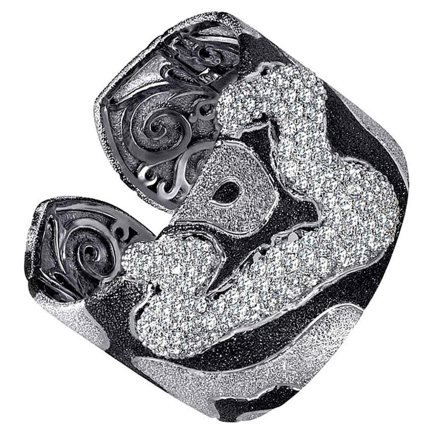 Alex Soldier Topaz Platinum Sterling Silver Hinged Cuff Bracelet One of a kind