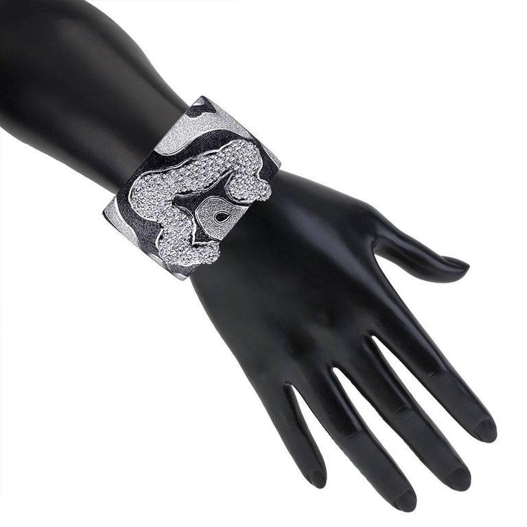 Women's or Men's Alex Soldier Topaz Quartz Platinum Sterling Silver Hinged Cuff Bracelet For Sale