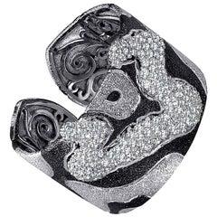 Alex Soldier Topaz Quartz Platinum Sterling Silver Hinged Cuff Bracelet
