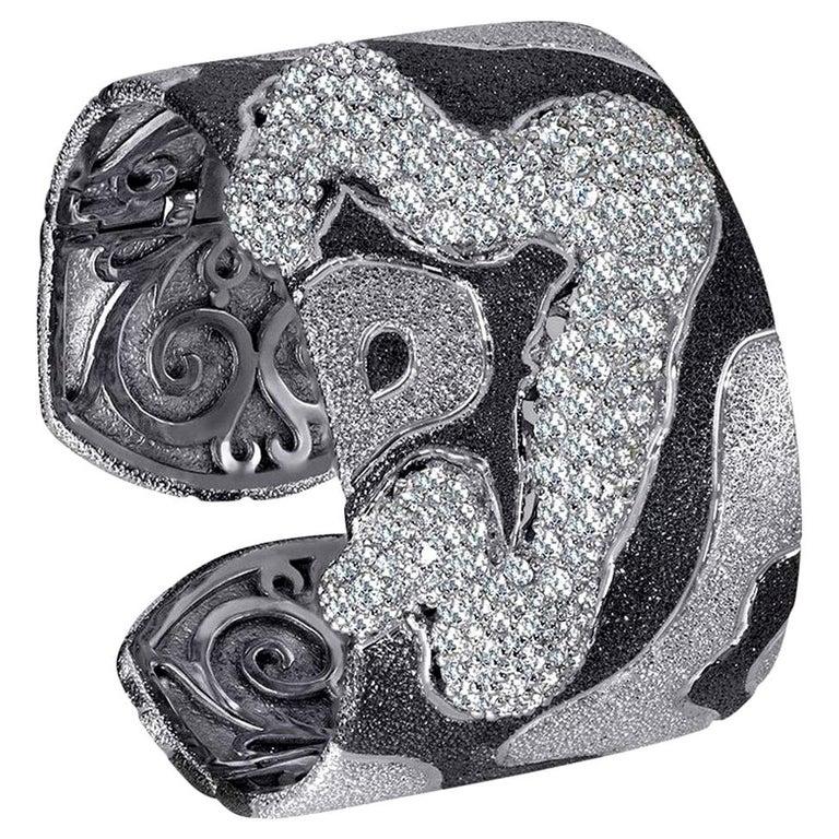 Alex Soldier Topaz Quartz Platinum Sterling Silver Hinged Cuff Bracelet For Sale