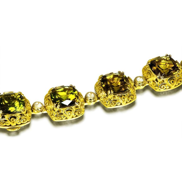 Alex Soldier Tourmaline Diamond Gold Byzantine Necklace One of a Kind In New Condition For Sale In New York, NY