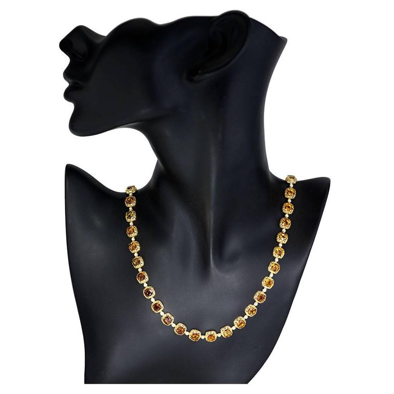 Alex Soldier Tourmaline Diamond Gold Byzantine Necklace One of a Kind For Sale 2