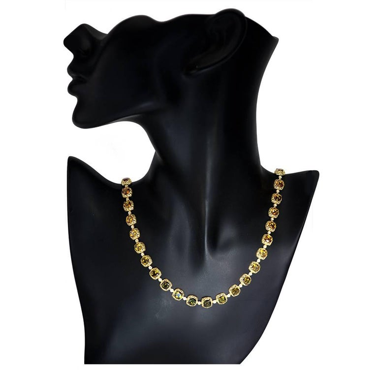 Alex Soldier Tourmaline Diamond Gold Byzantine Necklace One of a Kind For Sale 3
