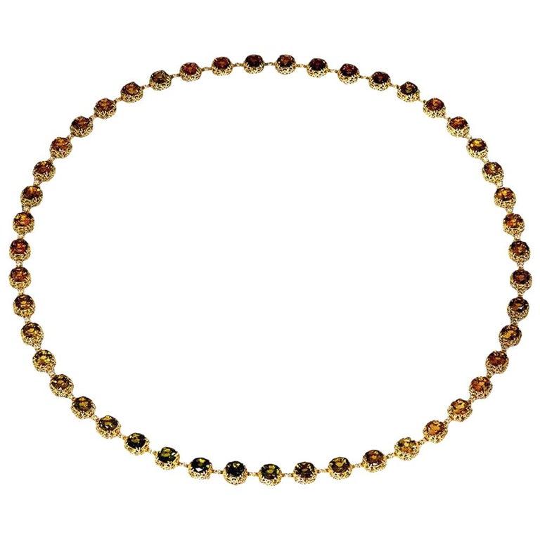 Alex Soldier Tourmaline Diamond Gold Byzantine Necklace One of a Kind For Sale