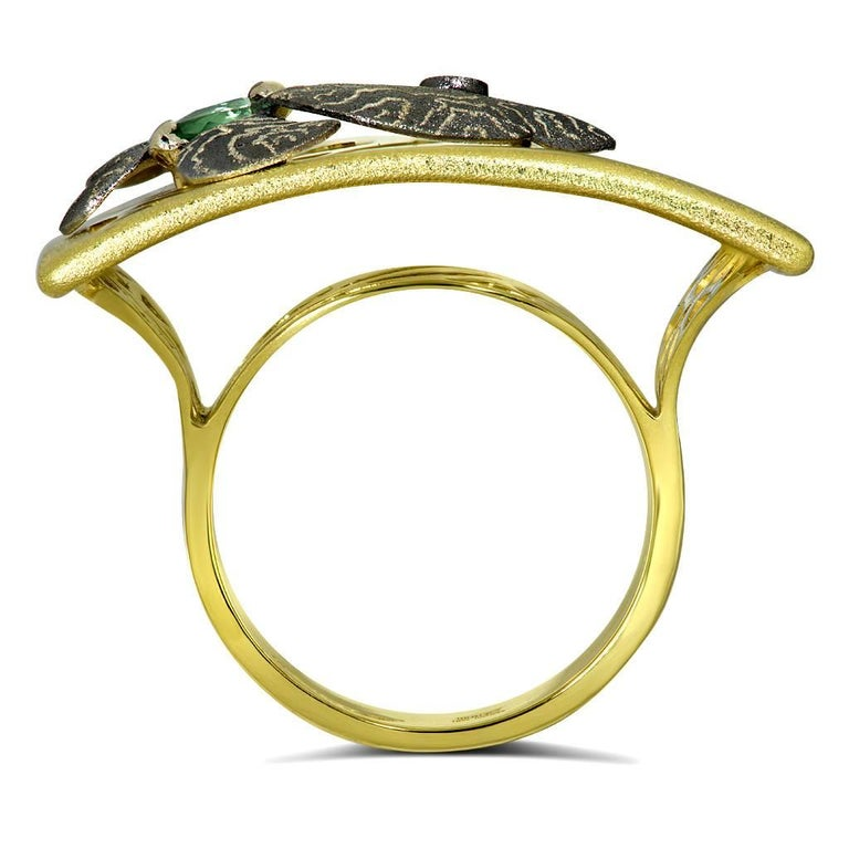 Marquise Cut Alex Soldier Tourmaline Gold Hand-Textured Butterfly Ring One of a Kind For Sale