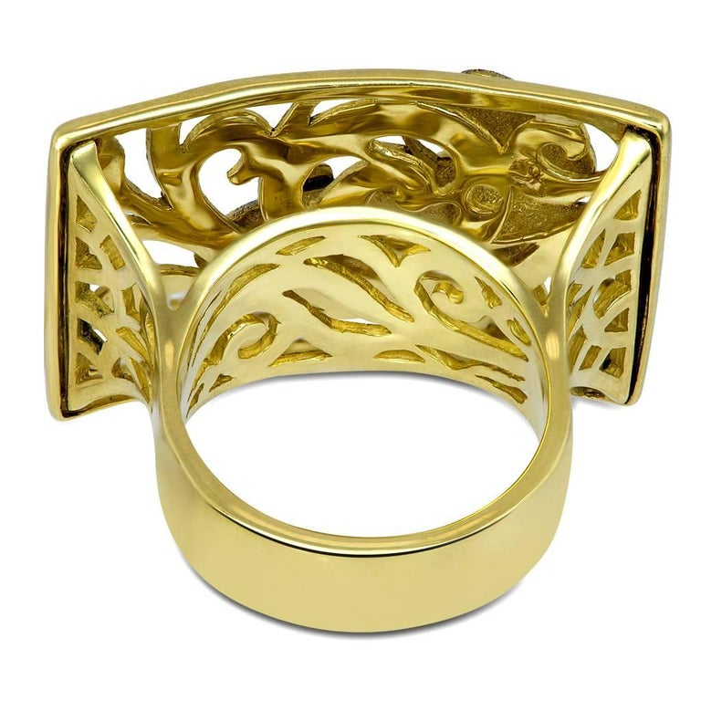 Women's or Men's Alex Soldier Tourmaline Gold Hand-Textured Butterfly Ring One of a Kind For Sale