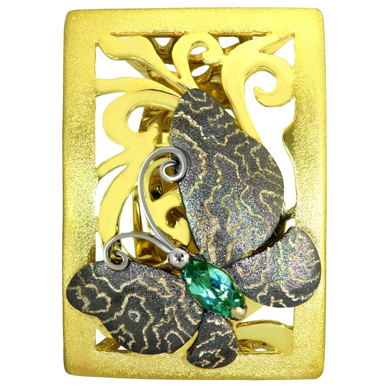 Alex Soldier Tourmaline Gold Hand-Textured Butterfly Ring One of a Kind For Sale