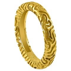 Alex Soldier Yellow Gold Carved Valentine Band