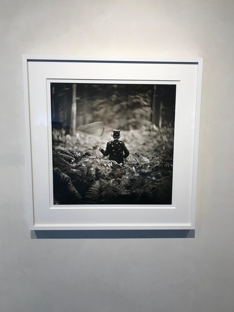 Hide and Seek- white framed black and white photograph 28 x 28 inches framed - Photograph by Alex Timmermans
