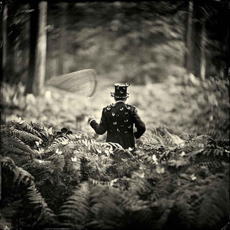 Alex Timmermans Figurative Photograph - Hide and Seek- white framed black and white photograph 28 x 28 inches framed