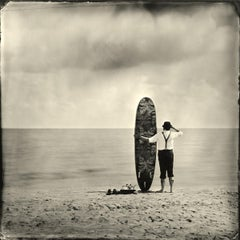 Not My Cup of Tea- black and white photograph surfboard art