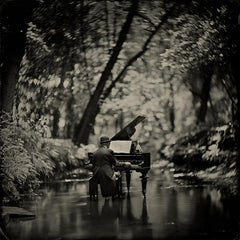 Water Music - contemporary black and white photograph 20 x 20 inches