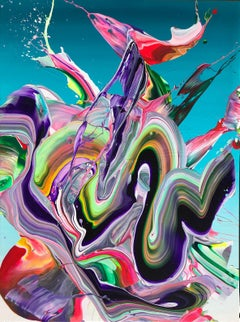 Turquoise Color Energy by Alex Voinea - Abstract painting by Alex Voinea No 407