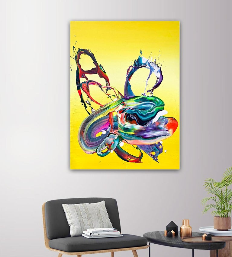 Yellow Flow - Abstract, colorful painting by Alex Voinea No 455 For Sale 2