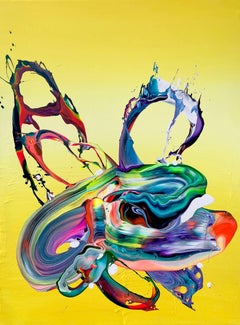 Yellow Flow by Alex Voinea- Contemporary Abstract Bold Colorful painting No 455