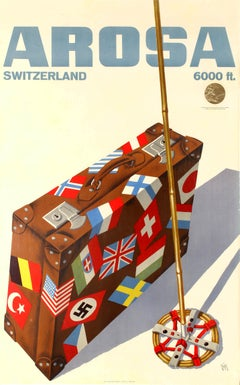 Original Vintage Winter Sport Travel Poster Arosa Switzerland Gold Medal Award