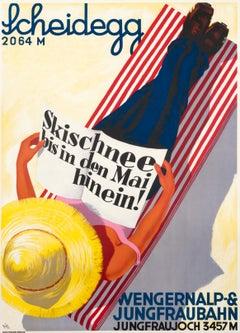 """Scheidegg - Jungfraujoch Ski Into May!"" Original Vintage Ski Poster"