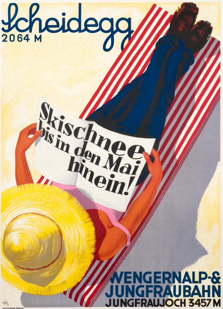 """Scheidegg - Jungfraujoch Ski Into May!"" Original Vintage Ski Poster - Print by Alex Walter Diggelmann"