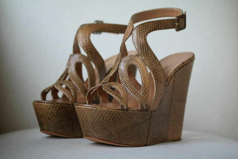 Brown Alexa Wagner Ayers Cut-Out Snakeskin Wedges  For Sale
