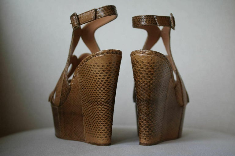 Women's Alexa Wagner Ayers Cut-Out Snakeskin Wedges  For Sale