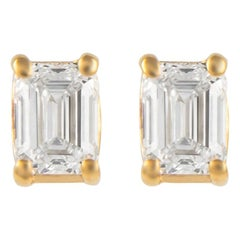 Alexander 0.69 Carat Emerald Cut Diamond Stud Earrings Yellow Gold