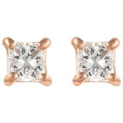 Alexander 0.69 Carat Princess Cut Diamond Stud Earrings Rose Gold