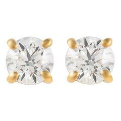Alexander 0.92 Carat Diamond Stud Earrings Yellow Gold