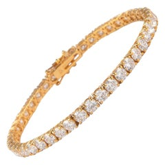 Alexander 10.87 Carat Diamond Tennis Bracelet 18 Karat Yellow Gold