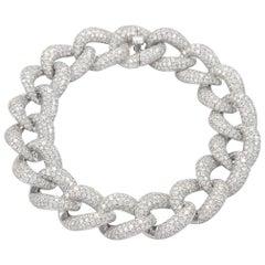 Alexander 10.95 Carat Diamond Cuban Link Bracelet 18 Karat White Gold