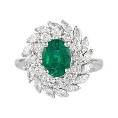 Alexander 1.30 Carat Emerald with Double Diamond Halo Ring 18 Karat White Gold