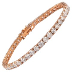 Alexander 13.04 Carat Diamond Tennis Bracelet 14 Karat Rose Gold