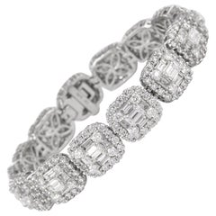 Alexander 15.40 Carat Diamond Illusion Set Bracelet 18 Karat White Gold