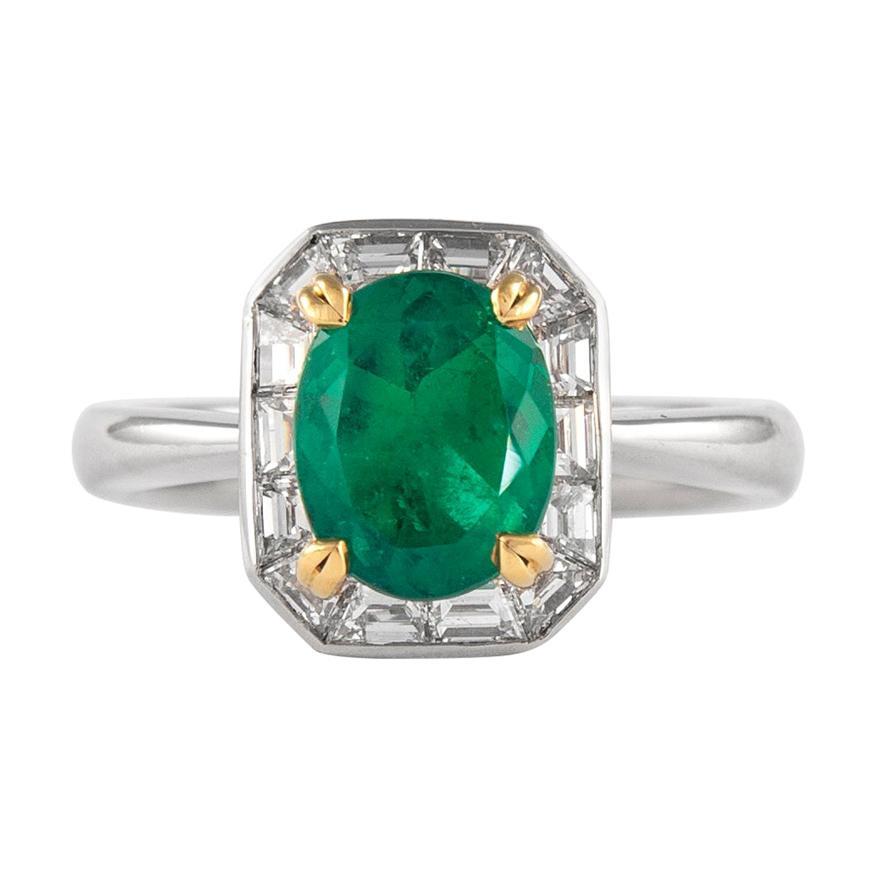 Alexander 1.66 Carat Emerald with Baguette Diamond Halo Ring 18 Karat White Gold