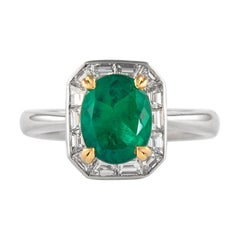 Alexander 1.66 Carat Emerald with Baguette Diamond Halo Ring 18 Karat White Gold