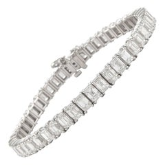 Alexander 18.62 Carat Emerald Cut Diamond Tennis Bracelet 18 Karat White Gold