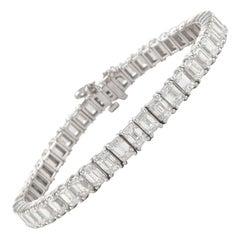 Alexander 18.62 Carat Emerald Cut Diamond Tennis Bracelet 18 Karat White Gold