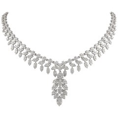 Alexander 18.83 Carat Diamond Illusion Set 18 Karat White Gold Necklace