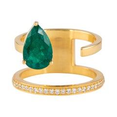Alexander 2.01 Carat Floating Emerald Diamonds Ring 18 Karat Yellow Gold